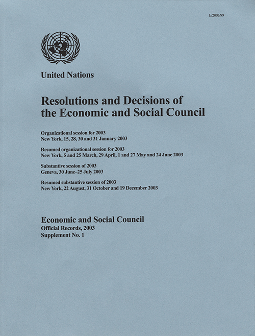 EOR 2003 SUPP1 RES DEC ECOSOC