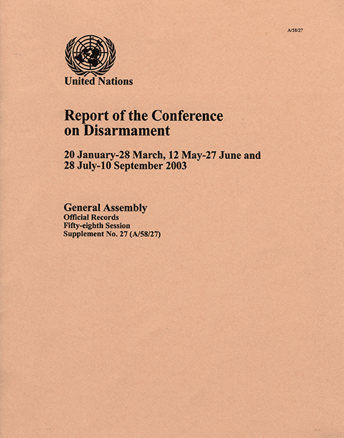GAOR 58TH SUPP27 CONF DISARM 2003