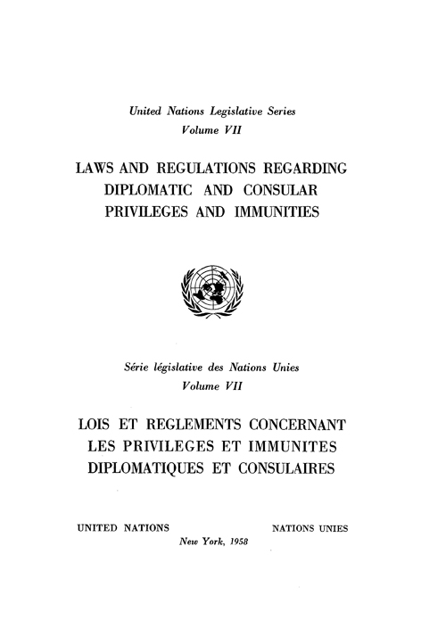 LAWS & REGULAT REGARD DIPLOMATIC