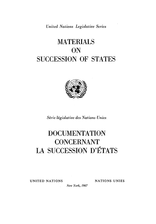 MATERIALS ON SUCCESSION OF STATES