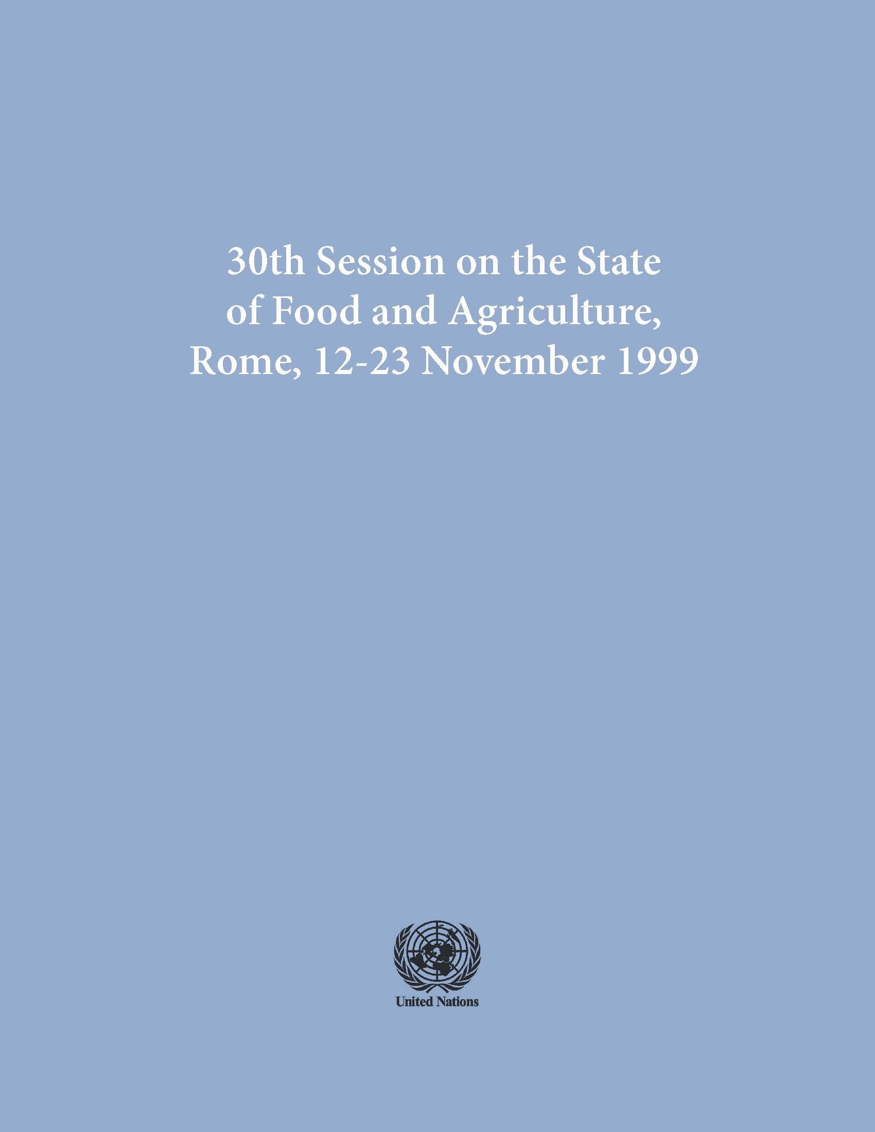 STATE OF FOOD & AGRICULTURE 1999