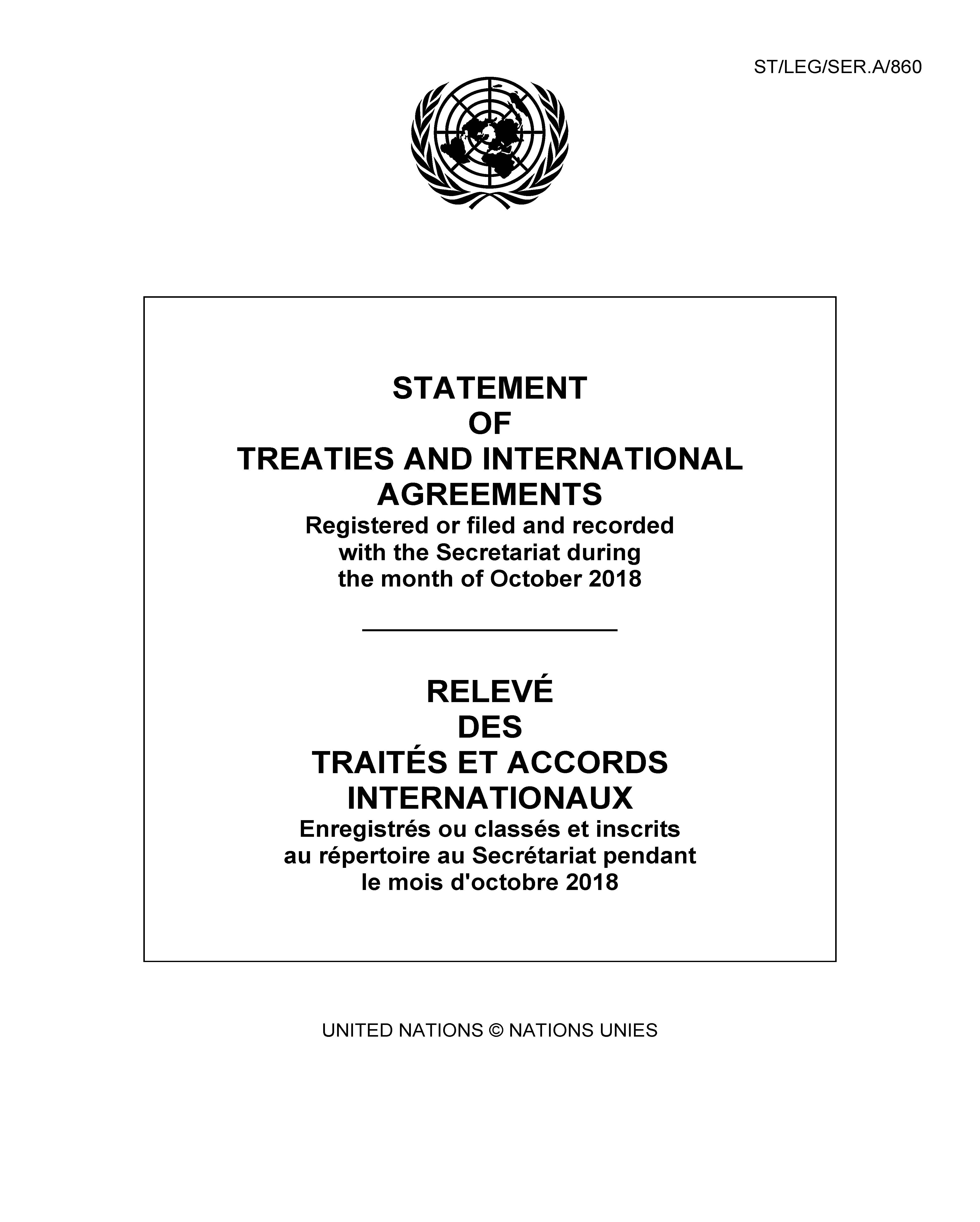 STATEMENT OF TREATIES OCT 2018