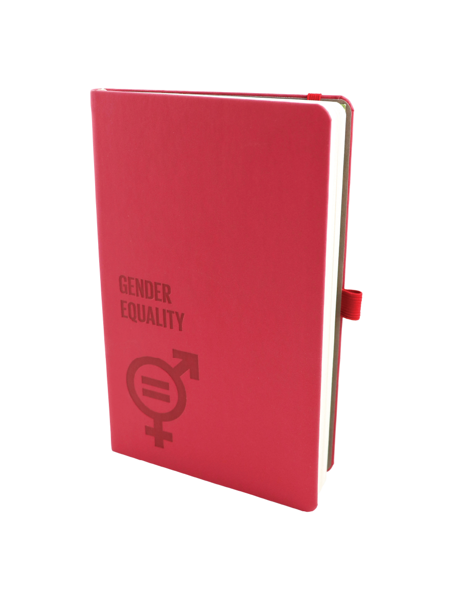 An Image of a red sustainable and all natural Appeel note composed of 70% recycled leather 30% apple peels with SDG5 icon and the words Gender Equality debossed in front.