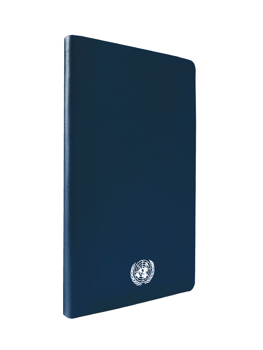 An image of a medium sized, recycled leather, blue coloured journal with the UN Emblem embossed in silver centered at the bottom.