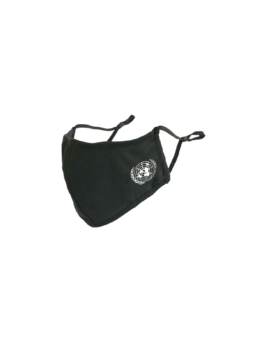 An image of a black soft double layered organic cotton mask with a pocket to add filter. Adjustable ear straps. UN Emblem in white. Washable, reusable, and ecofriendly.