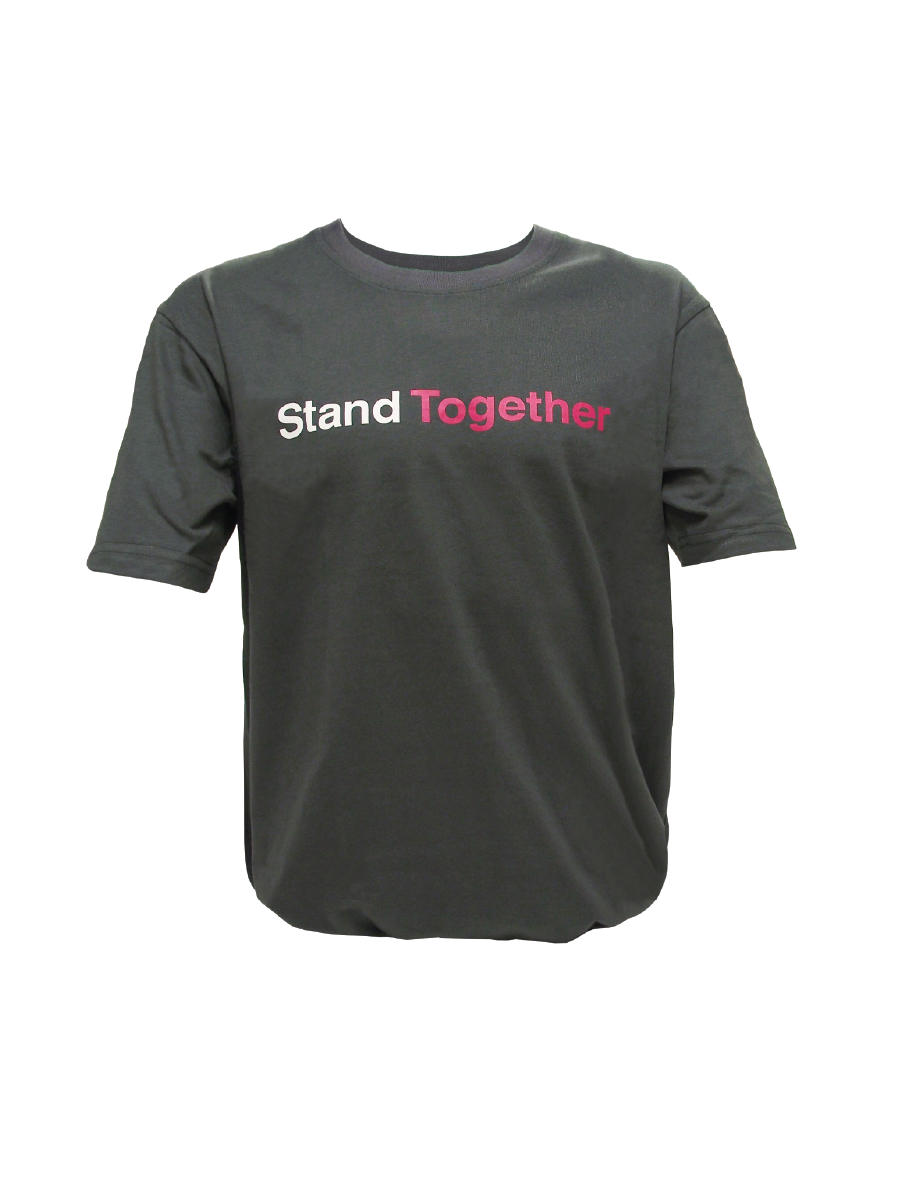 "An image of a grey organic cotton T-shirt for men with ""HeForShe"" logo and text in white script printed on the back of the shirt and the words ""Stand Together"" printed on the front of the shirt in white and pink script."