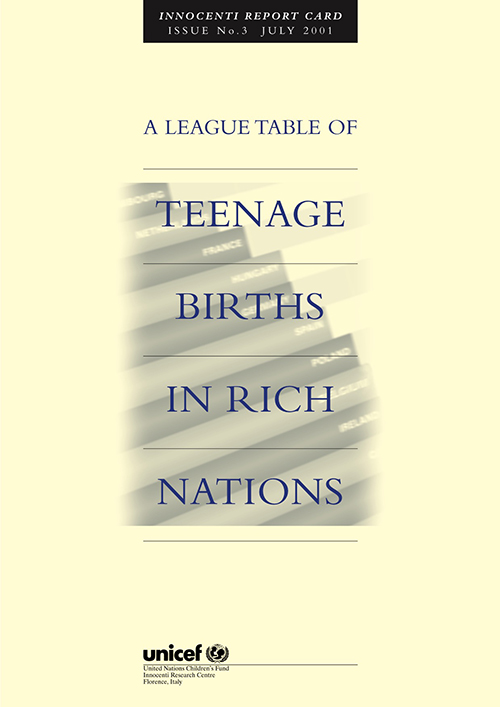 LEAGUE TABLE OF TEENAGE BIRTHS