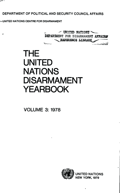 UN DISARMAMENT YRBK 1978 V3