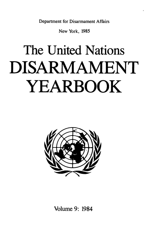 UN DISARMAMENT YRBK 1984 V9