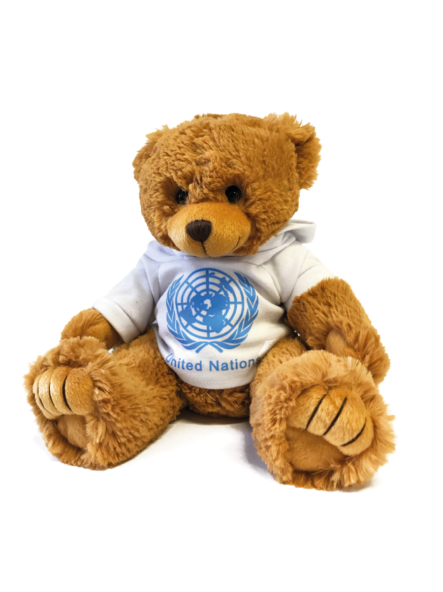 An image of a furry, brown teddy bear wearing a hoodie with the UN Emblem and text printed on it.
