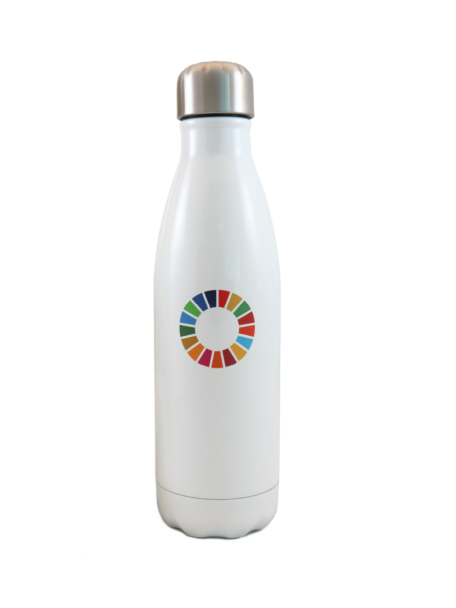 An image ofa whitestainless steelwaterbottlewith SDG wheel logo printed on it.