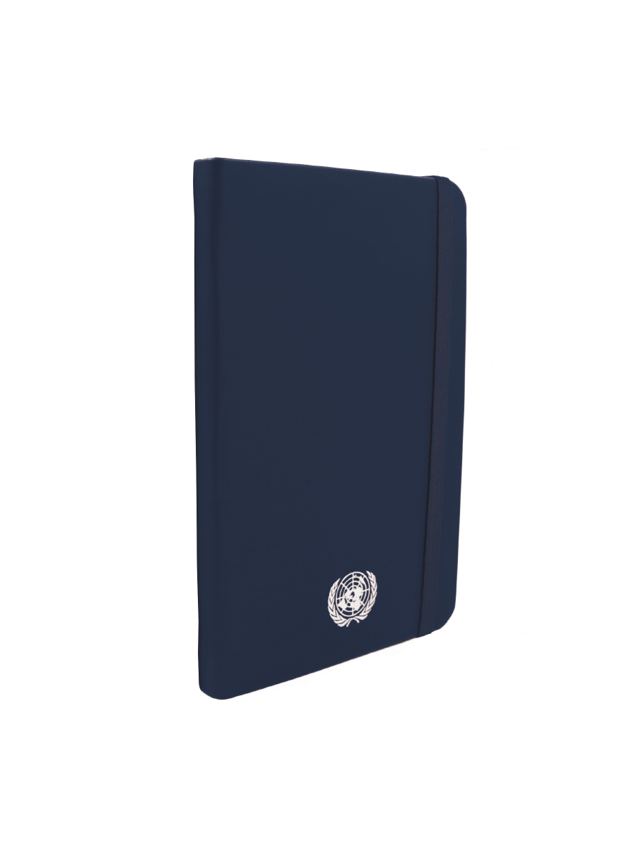 An image of a small sized, recycled leather, blue coloured journal with the UN Emblem embossed in silver centered at the bottom.