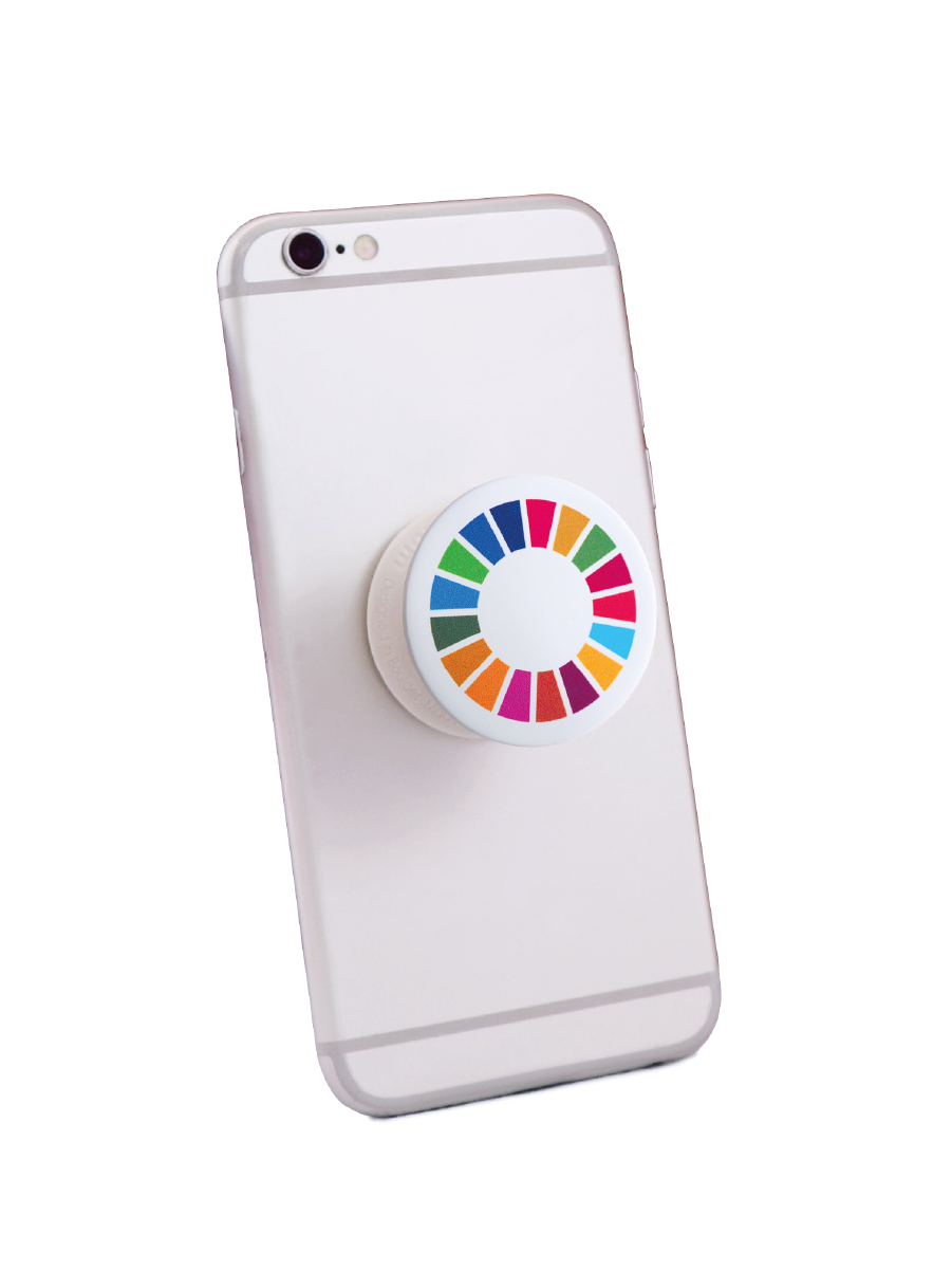 An image of a pop up smartphone holder featuring the SDG wheel attached to a phone. Phone not included with purchase.