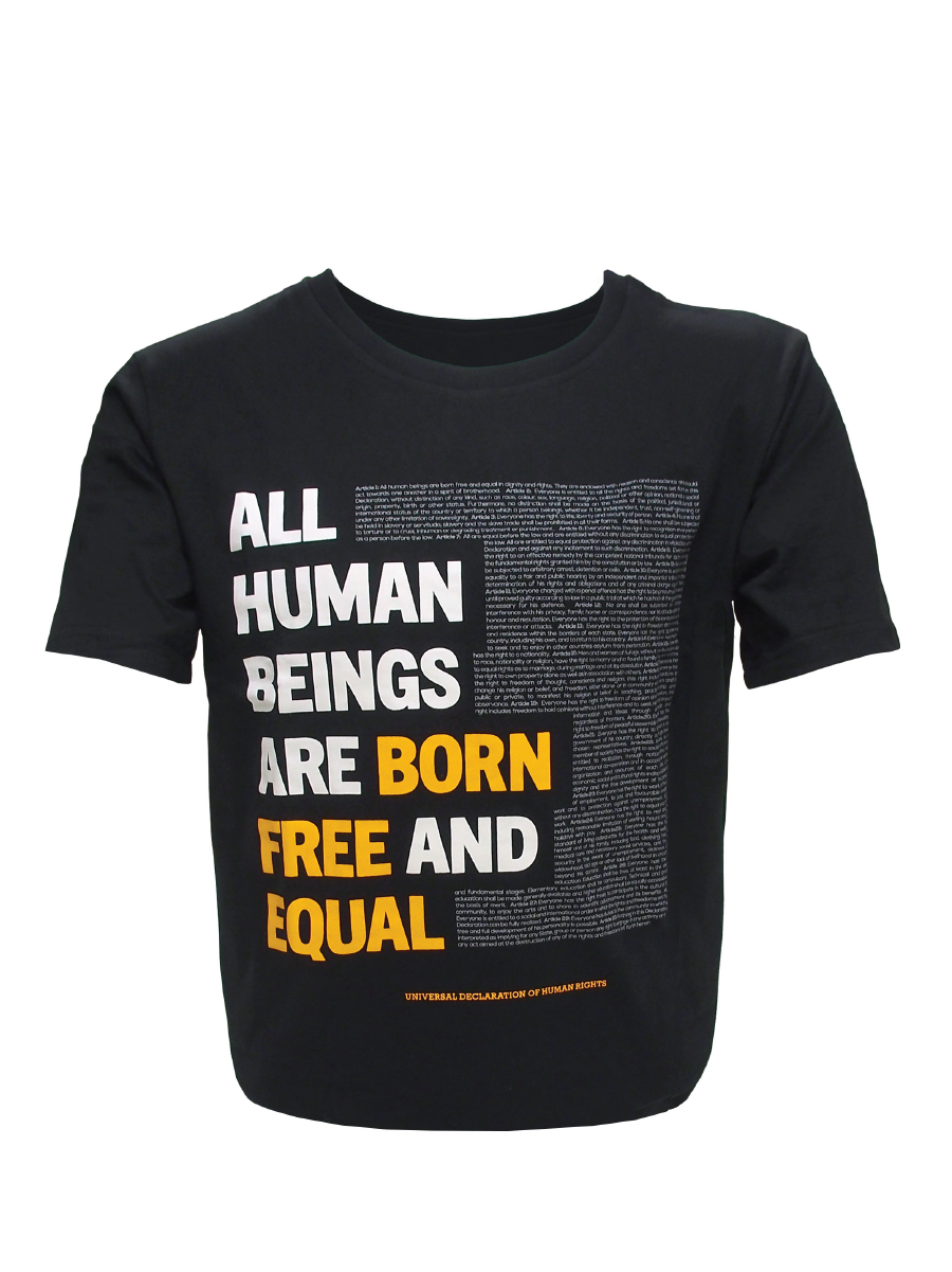 UDHR FULL TXT BLK ORG TSHRT MEN MD