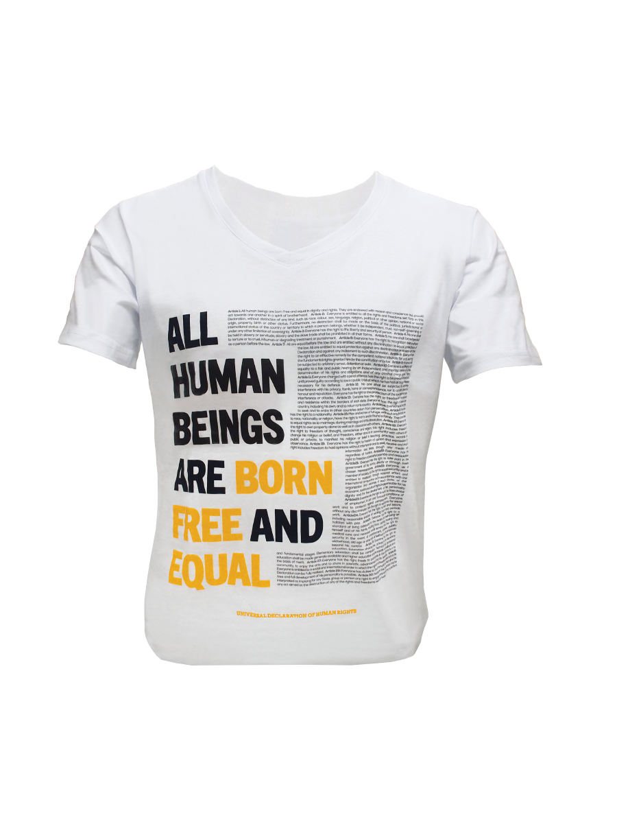 An Image of a white organic cotton t-shirt for women with Universal Declaration of Human Rights articles on the front of the shirt in black and orange script.