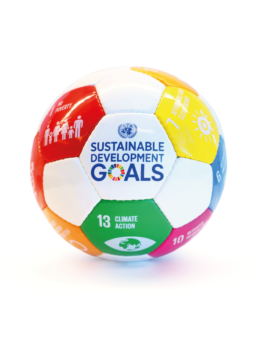 An image of a football/soccer ball with Sustainable Development Goals logos on different parts of the ball.