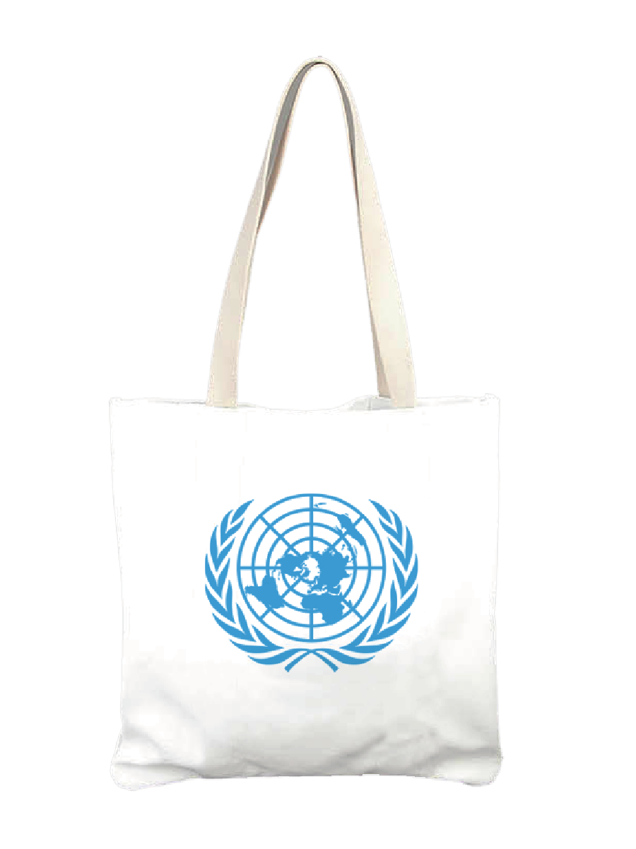 An image of a white, cloth tote bag with the blue UN Emblem printed on it.