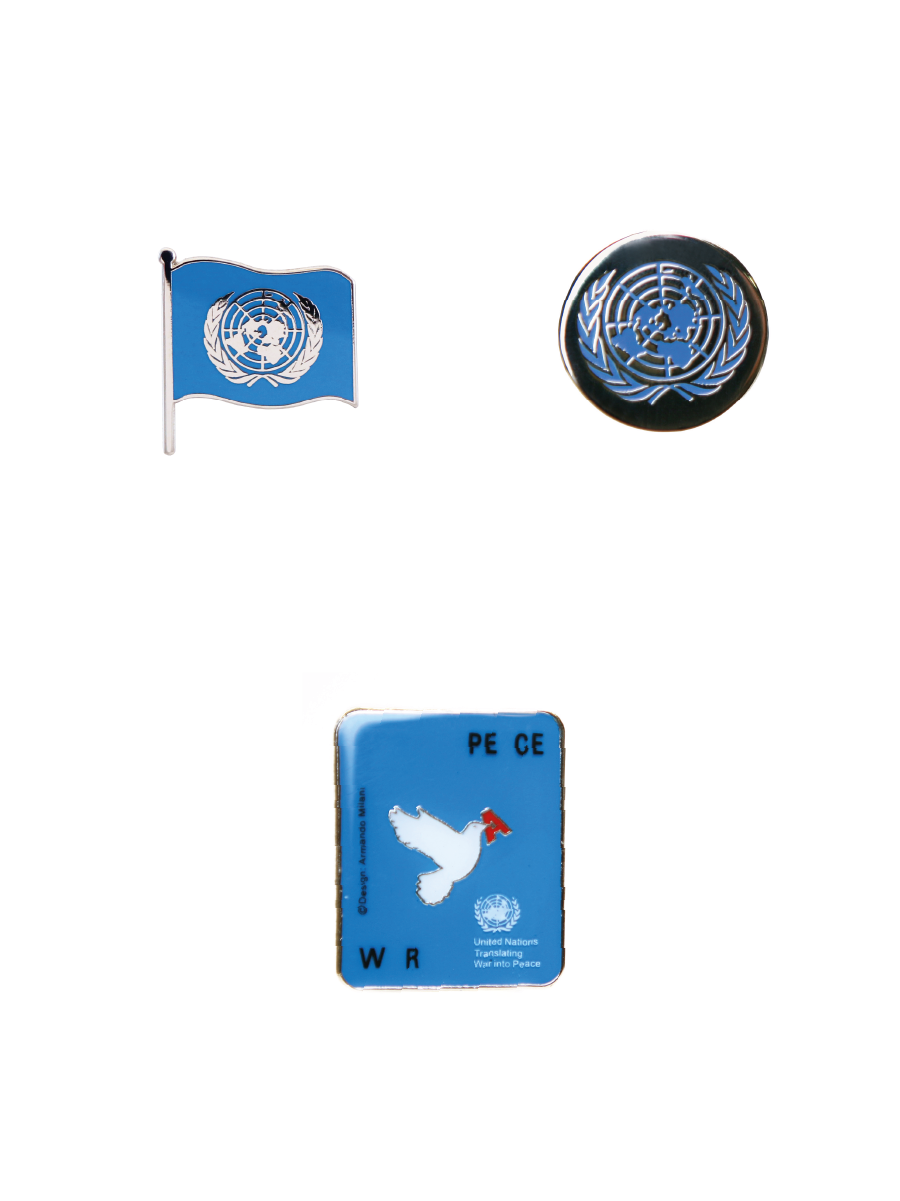An image of 3 metal pins; one is the UN flag bearing the UN Emblem, one is a circular pin with the UN Emblem etched and pained blue upon it, and one is a rectangle pin representing War & Peace metaphorically with a dove.