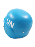 An image of a toy replica of the blue UN Peacekeeper helmet with white United Nations emblem. Durable plastic toy helmet with adjustable chin strap.