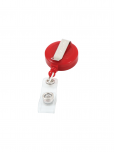 An image of a red retractable badge reel with white SDG 5 icon upon it. Made from recycled plastic with epoxy dome.