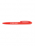 An image of a red pen with the SDG5 icon and the words Gender Equality printed in white. Made of renewable raw materials (sugar cane) and biodegradable plastics.