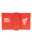 An image of a Red 144 pages notebook made from 100% recycled paper with the SDG5 icon and the words Gender Equality printed in white.