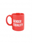 "An image of a red ceramic mug featuring the gender equality symbol and the words ""gender equality"" in white (dishwasher and microwave safe), measuring 3 3/4"" x 3 1/4"" 12 oz 10cm x 8 cm 355 ml."