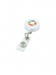 An image of a white retractable badge reel with SDG multicoloured wheel upon it. Made from recycled plastic with epoxy dome.