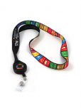 "An image of a black lanyard with snap-on tag holder, made from recycled plastic. Snap loop with retractable badge reel. Featuring multicoloured SDG logos, measuring 3/4"" x 32"" 2cm x 82cm."