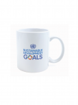 An image of a white ceramic mug featuring the SDG multicoloured wheel and the words Sustainable Development Goals printed upon it. Dishwasher and microwave-safe.