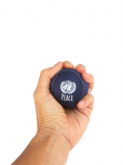 "An image of a navy blue stress ball featuring the UN emblem and the word ""peace"", measuring 2 1/4"" 5.715 cm, topped with soft lycra covering. Filled with semi-solid gel of recycled materials."