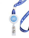 """An image of a blue lanyard with snap-on tag holder, made from recycled plastic. Snap loop with retractable badge reel. Featuring the UN Emblem and the words United Nations, measuring 3/4"""" x 32"""" 2cm x 82cm."""