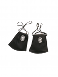 An image of a pair of black soft double layered organic cotton mask with a pocket to add filter. Adjustable ear straps. UN Emblem in white. Washable, reusable, and ecofriendly.