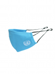 An image of a blue soft triple layered organic cotton mask with a pocket to add filter. Adjustable ear straps. UN Emblem embroidered in white. Washable, reusable, and eco-friendly.