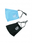 An image of a 2 mask pack comprising one blue and one black soft triple layered organic cotton mask with a pocket to add filter. Adjustable ear straps. UN Emblem embroidered in white. Washable, reusable, and eco-friendly.