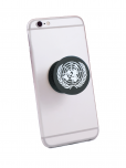 An Image of a pop up smartphone holder with the UN Emblem attached to a smartphone. Phone not included with purchase.