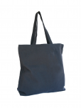 An image of a navy blue, cloth tote bag with the white UN Emblem printed on it.