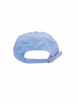 An image of a light blue 100% cotton hat embroidered with white United Nations emblem. Adjustable strap.
