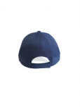 An image of a navy blue 100% cotton hat embroidered with white United Nations emblem. Adjustable strap.