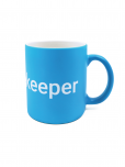 "An image of a blue ceramic mug featuring the UN emblem and the word ""Peacekeeper"" in white (dishwasher and microwave safe), measuring 3 3/4"" x 3 1/4"" 12 oz 10cm x 8 cm 355 ml."