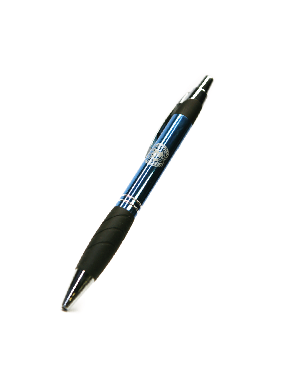 An image of a metallic blue, metal pen with a black rubber grip and the UN Emblem printed on it.