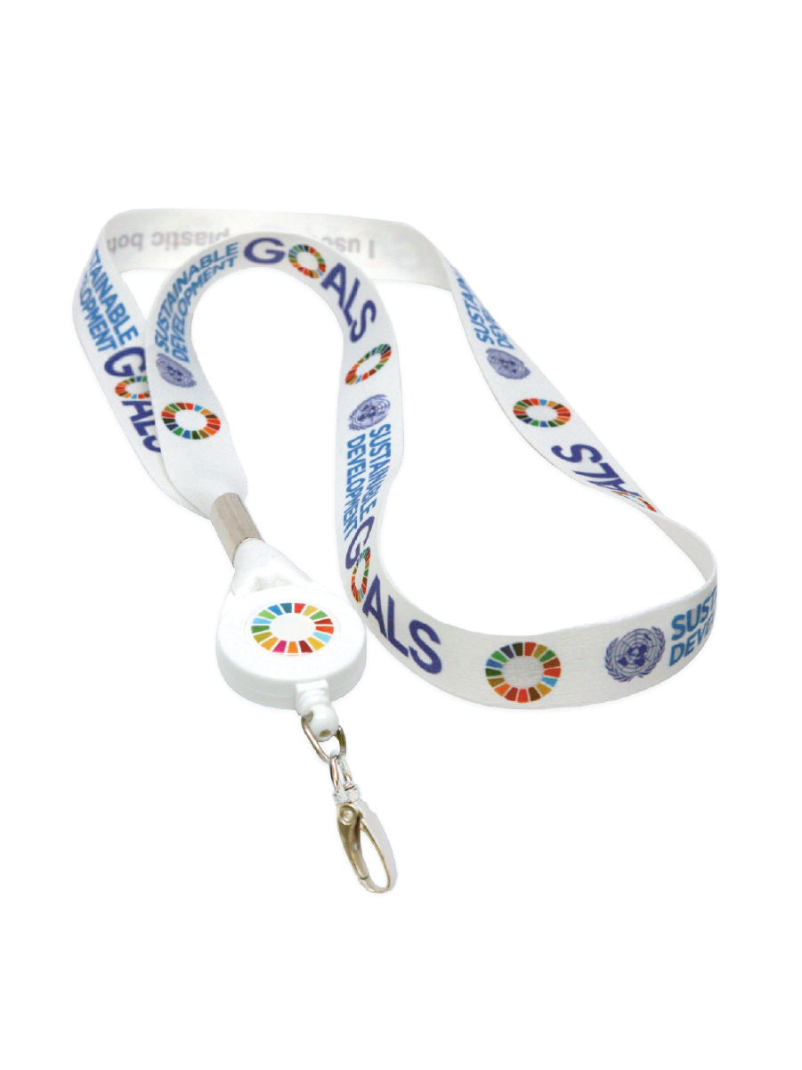 "An image of a white lanyard with metal clip, made from recycled plastic. Featuring multicoloured SDG logos, measuring 3/4"" x 32"" 2cm x 82cm."