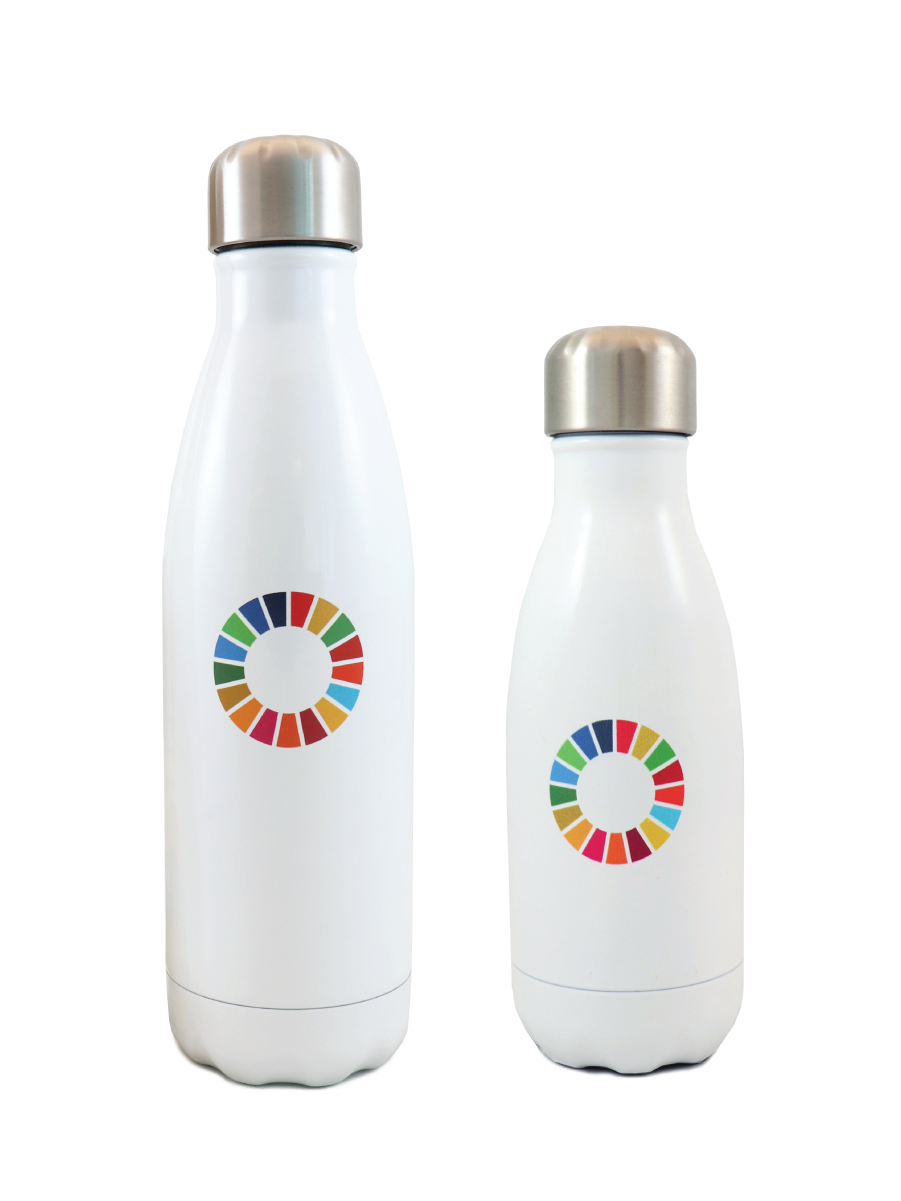 An image of a two white stainless steel bottles with SDG wheel logo printed on it.
