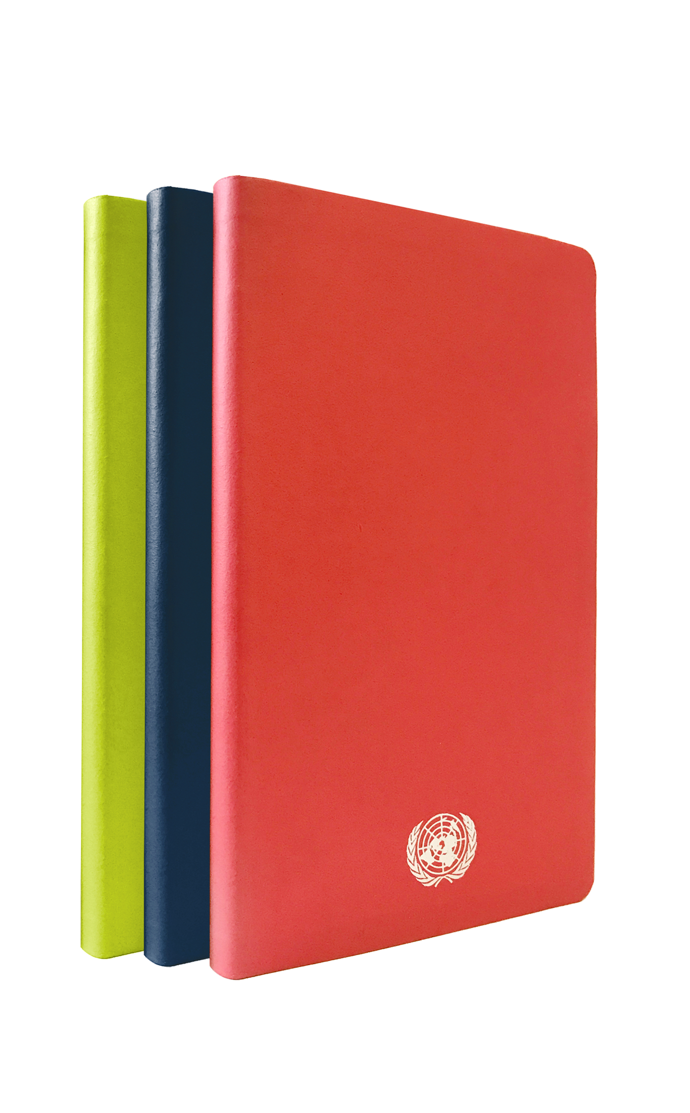 An image of three medium sized, recycled leather, delicious red, granny smith green and bella blue coloured journals with the UN Emblem embossed in silver at the bottom.