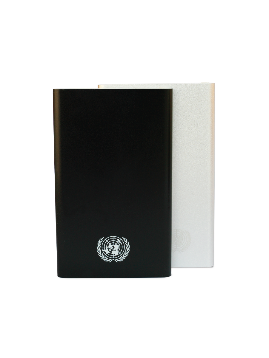 An image of two stylish portable power bank with a silver UN Emblem at bottom right. Rechargeable 4000 mAH battery with LED power status indicator.