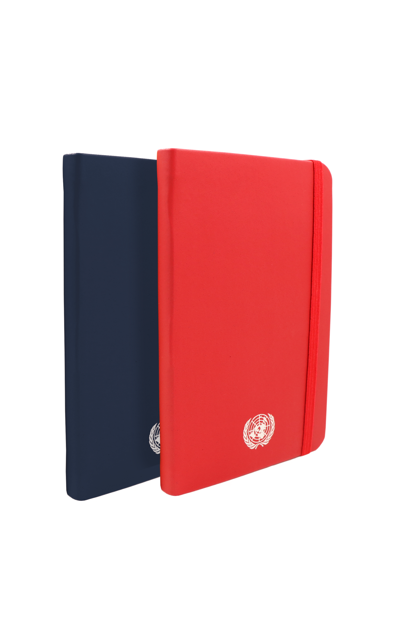 An image of two small sized, recycled leather, red and blue coloured journals with the UN Emblem embossed in silver centered at the bottom.