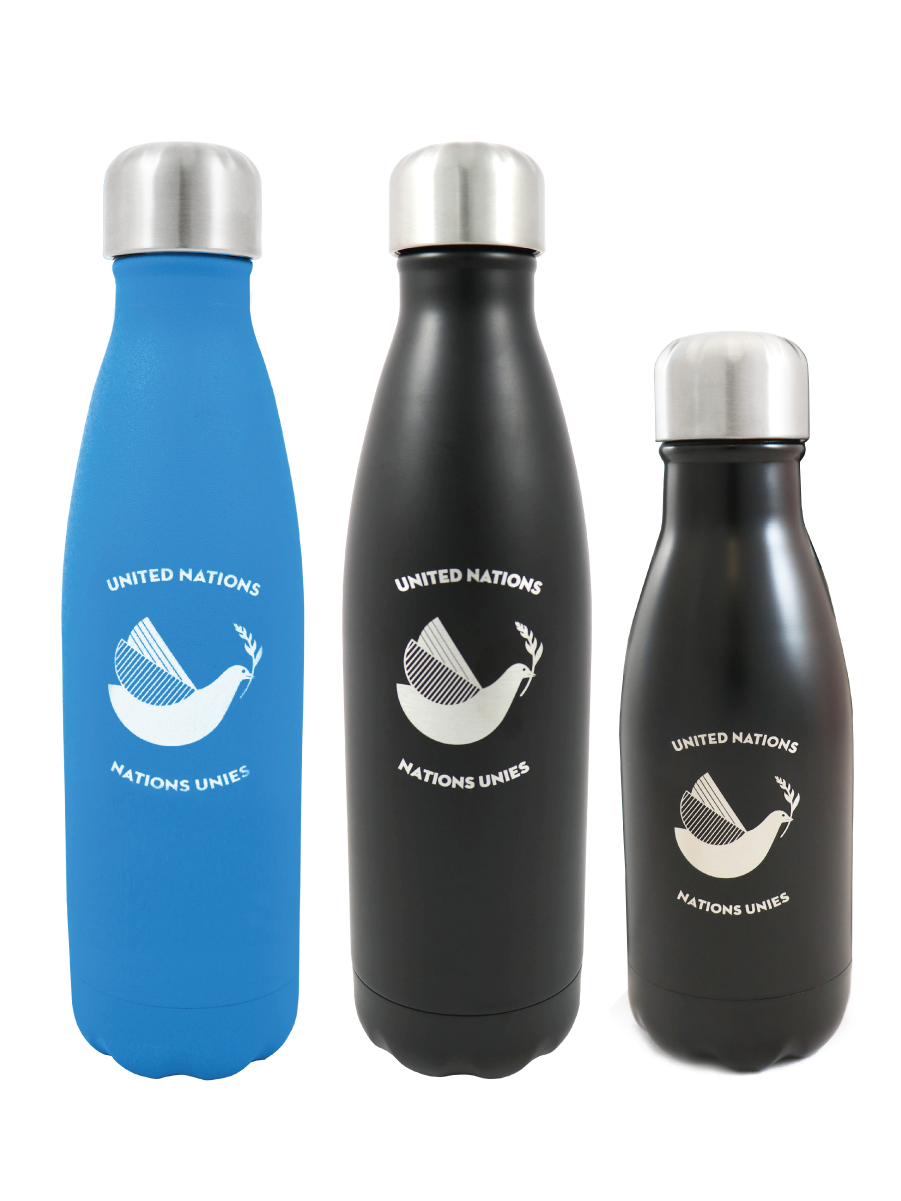 An image of a blue and black stainless steel water bottles with the words United Nations and a peace dove printed on it.