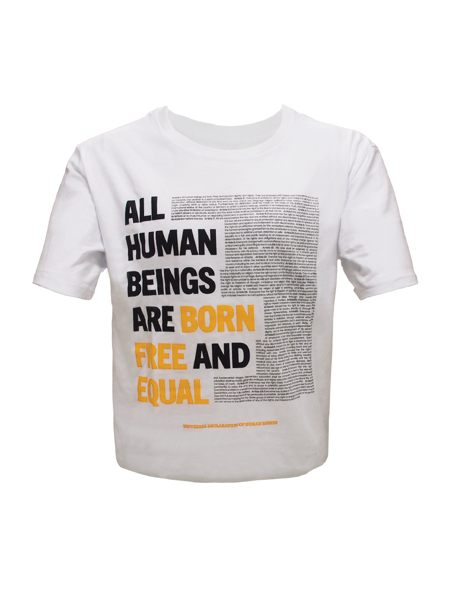 An Image of white organic cotton t-shirt for men with Universal Declaration of Human Rights articles on the front of the shirt in black and orange script.