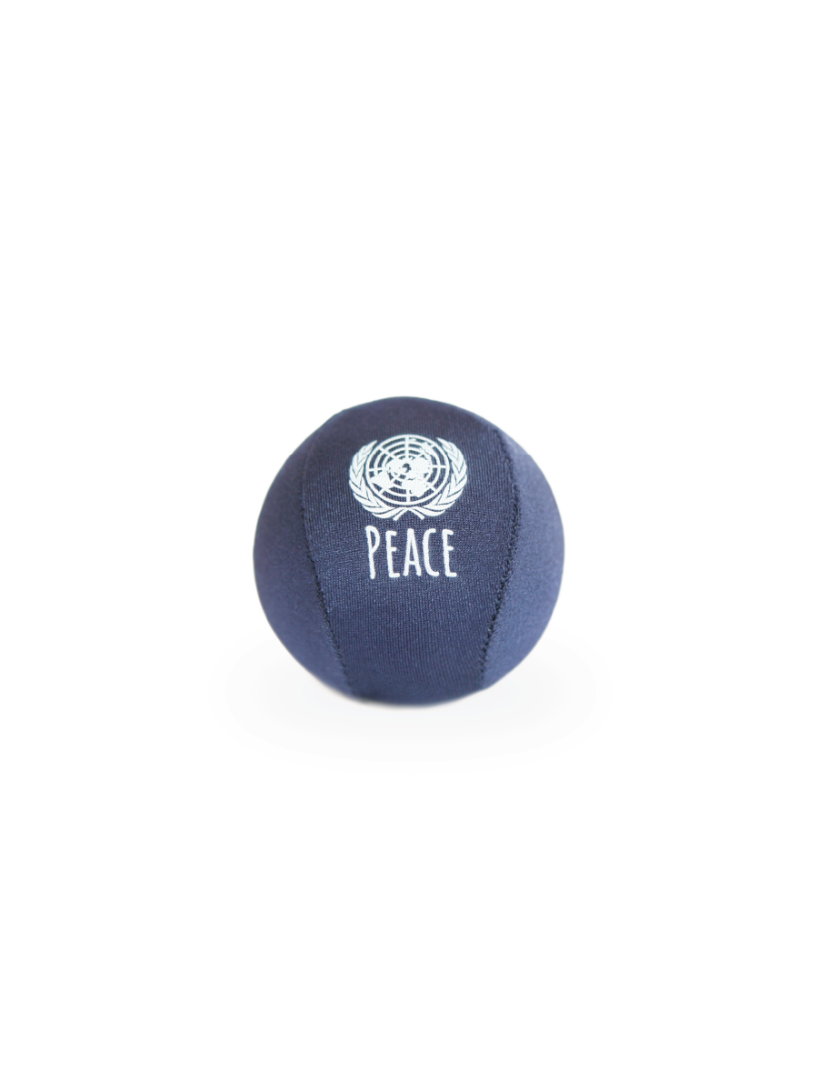 A picture of a lycra covered, squishy stress ball in navy.